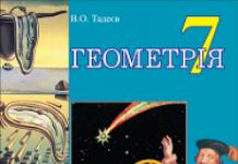 Підручники для школи Геометрія  7 клас           - Тадеєв В.О.